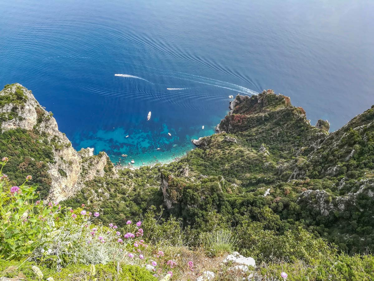 Mediterranean Coast seen on Campania Walking Tour in Italy