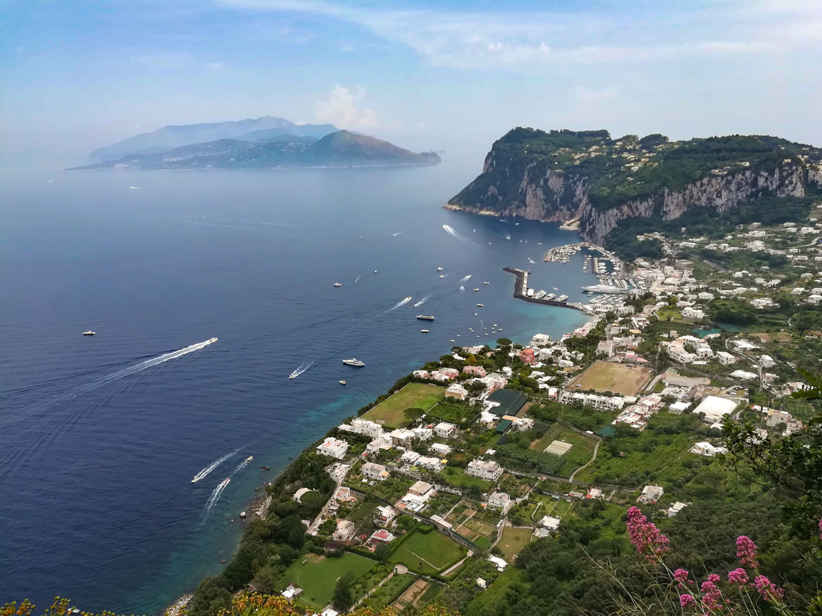 Looking down at Mediterranean Coast of Capri Island