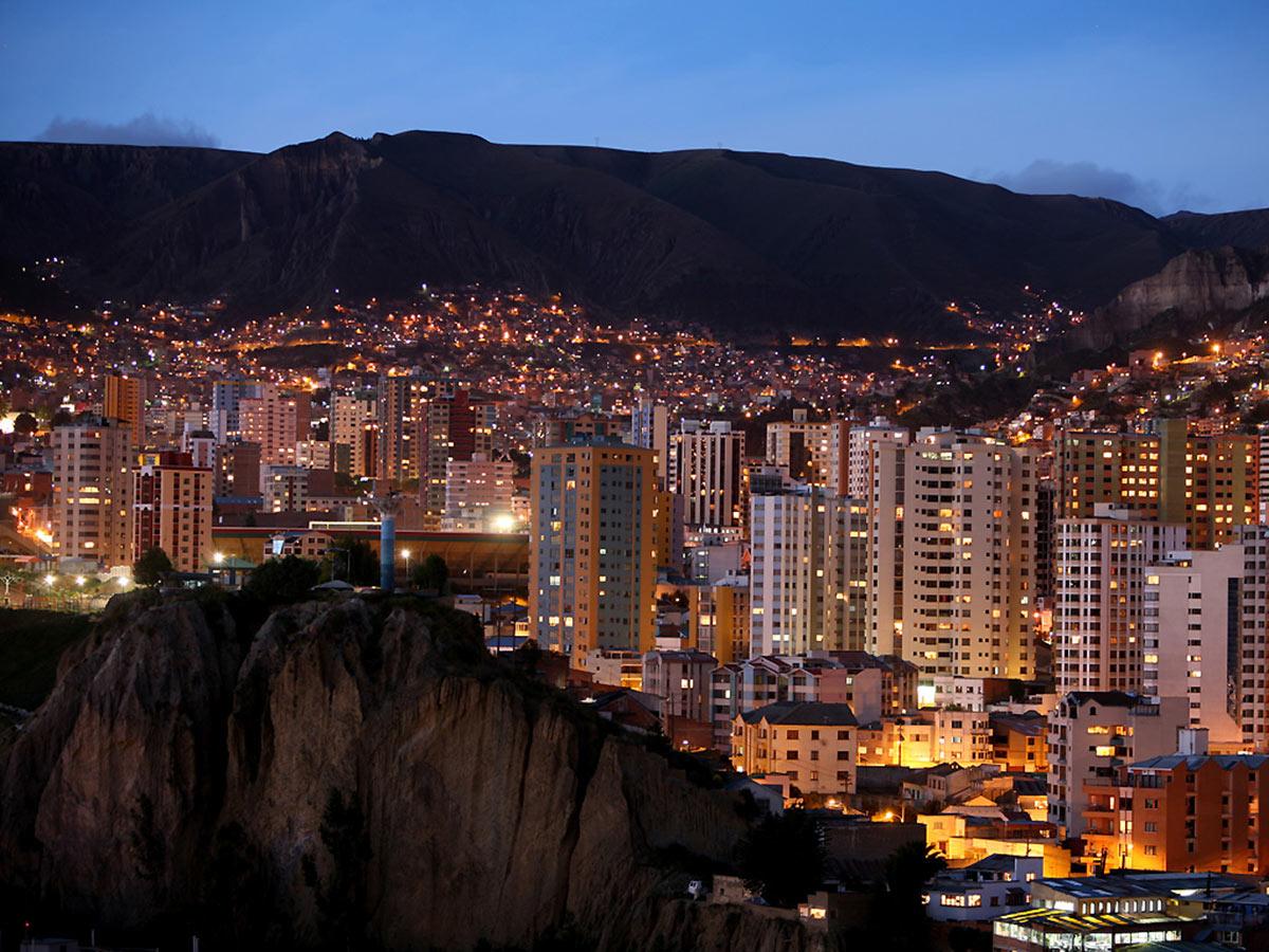 Night views of La Paz City visited on Bolivia Adventure Tour
