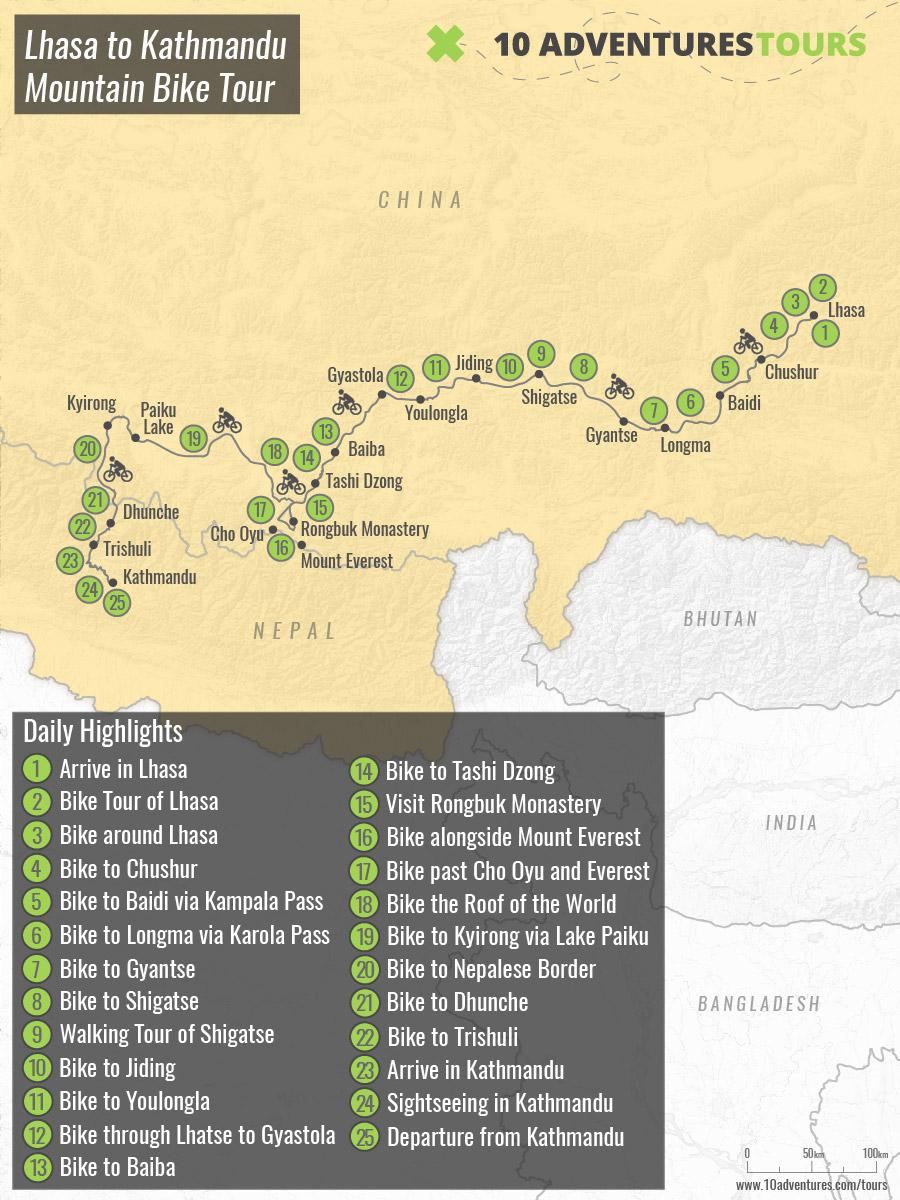 Map of Lhasa to Kathmandu Mountain Bike Tour (Tibet to Nepal)