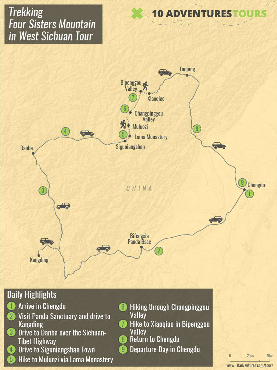 Map of Trekking Four Sisters Mountain in West Sichuan Tour (China)