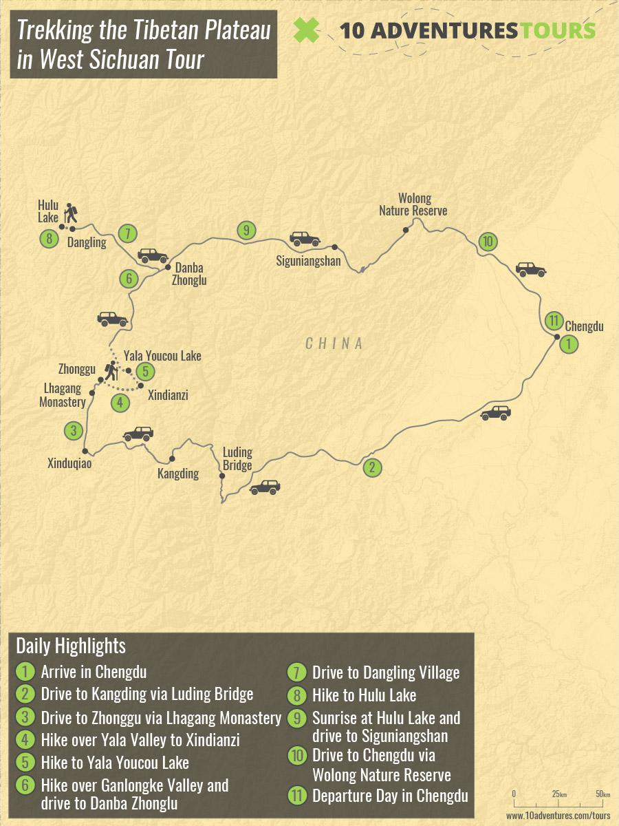 Map of Trekking the Tibetan Plateau in West Sichuan Tour