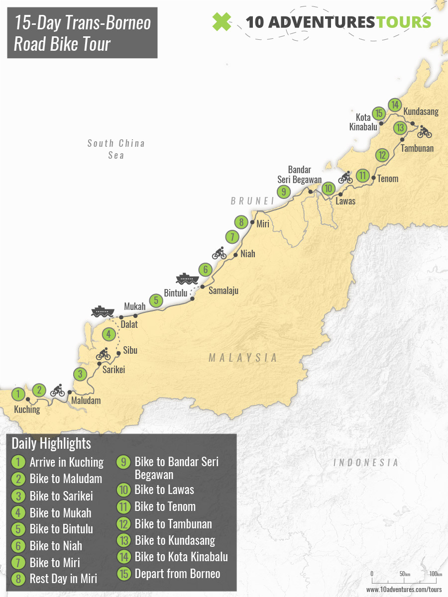 Map of Guided 15-Day Trans-Borneo Road Bike Tour