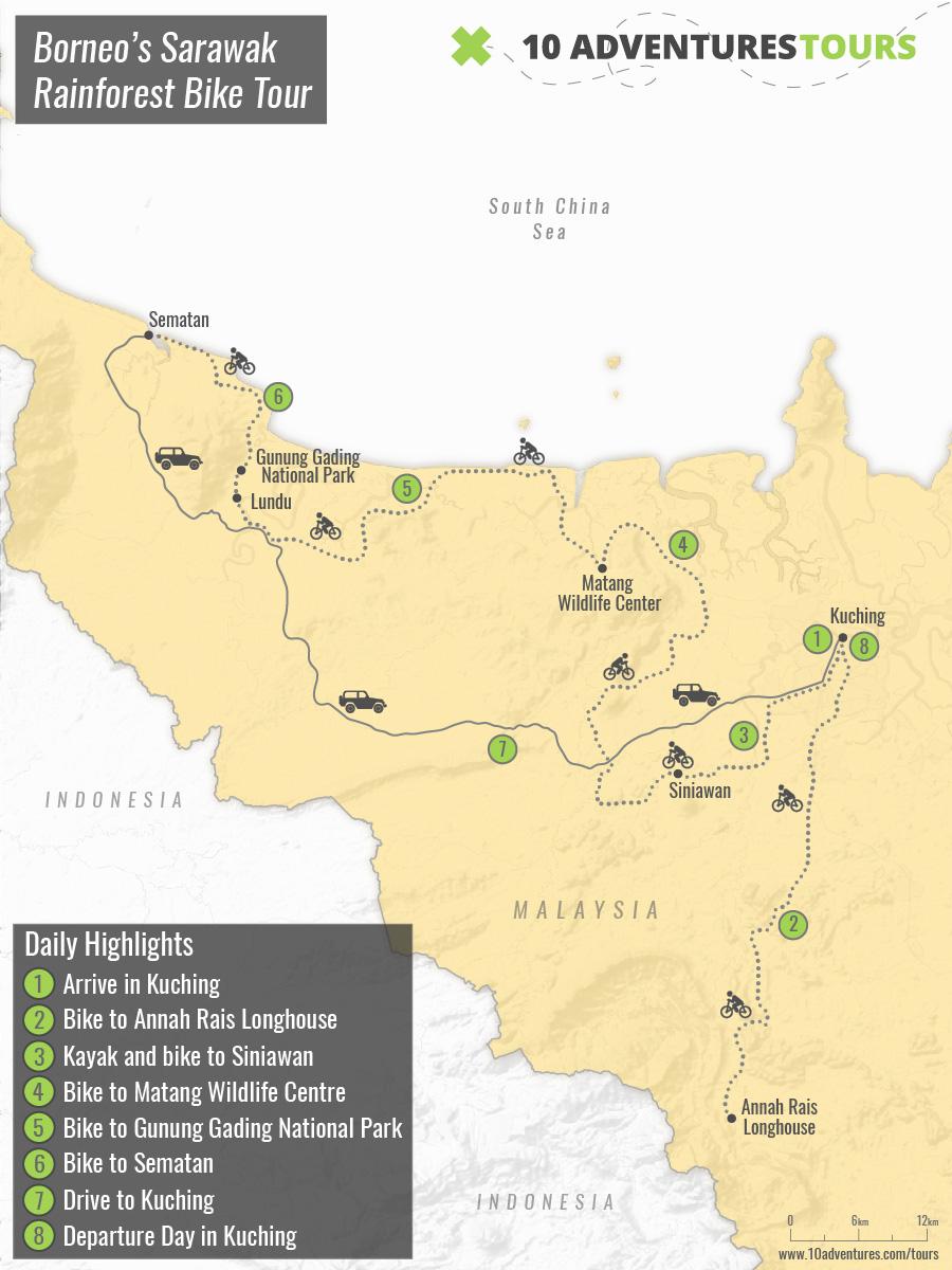 Map of Borneo's Sarawak Rainforest Bike Tour (Malaysia)