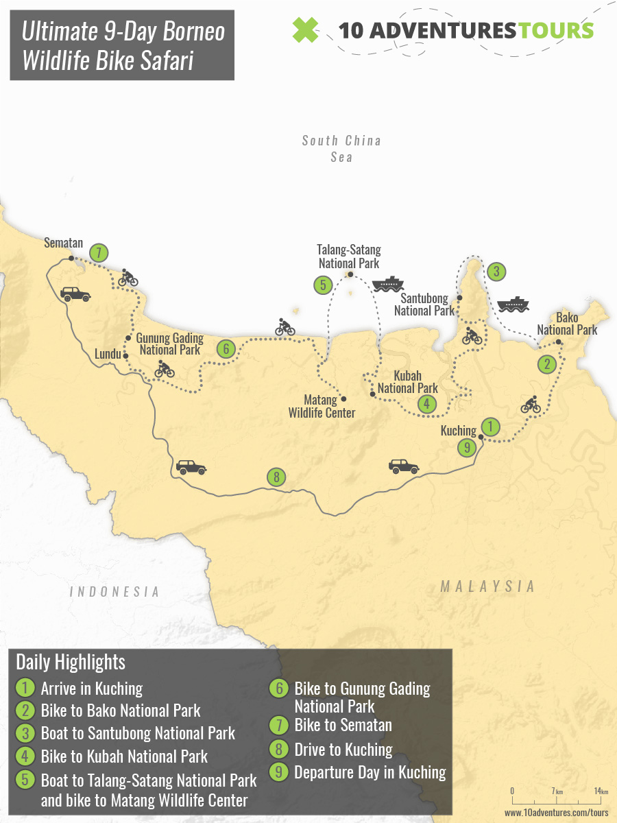 Map of Ultimate 9-Day Borneo Wildlife Bike Safari in Malaysia