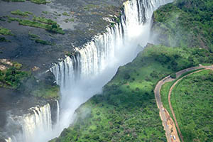 Victoria Falls as seen from above in Zimbabwe