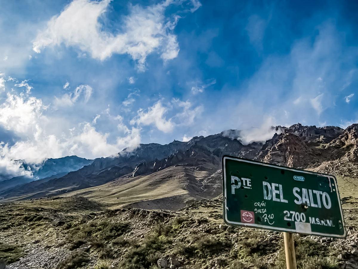 Del Salto signpost along Andes horseback ride