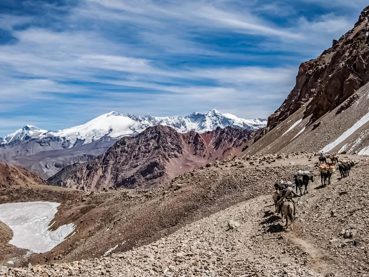 Horseback riding tour through the Andes Mountains in Argentina