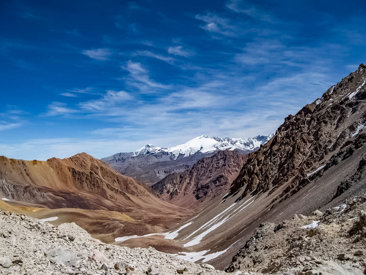 Trekking through the beautiful Andes mountian range in Argentina