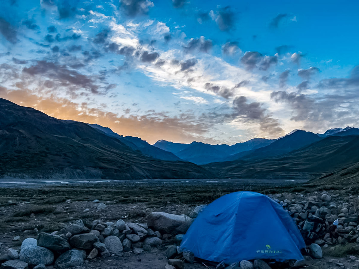 Camping in the beautiful Andes mountains along trekking tour