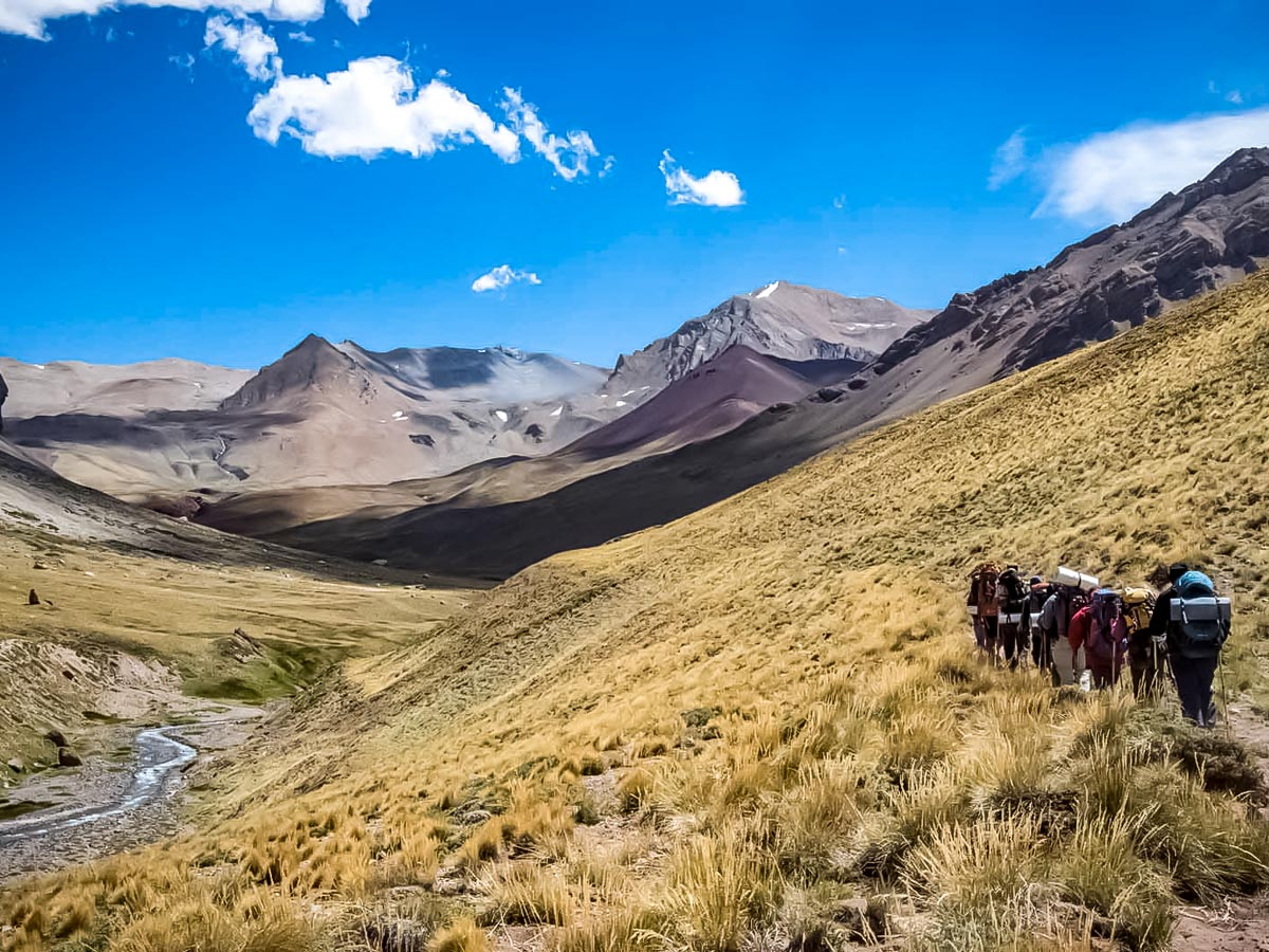 Trekking in the Argentinian Andes mountain range