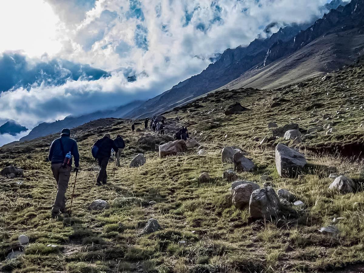 Andes trekking tour through Argentina mountains
