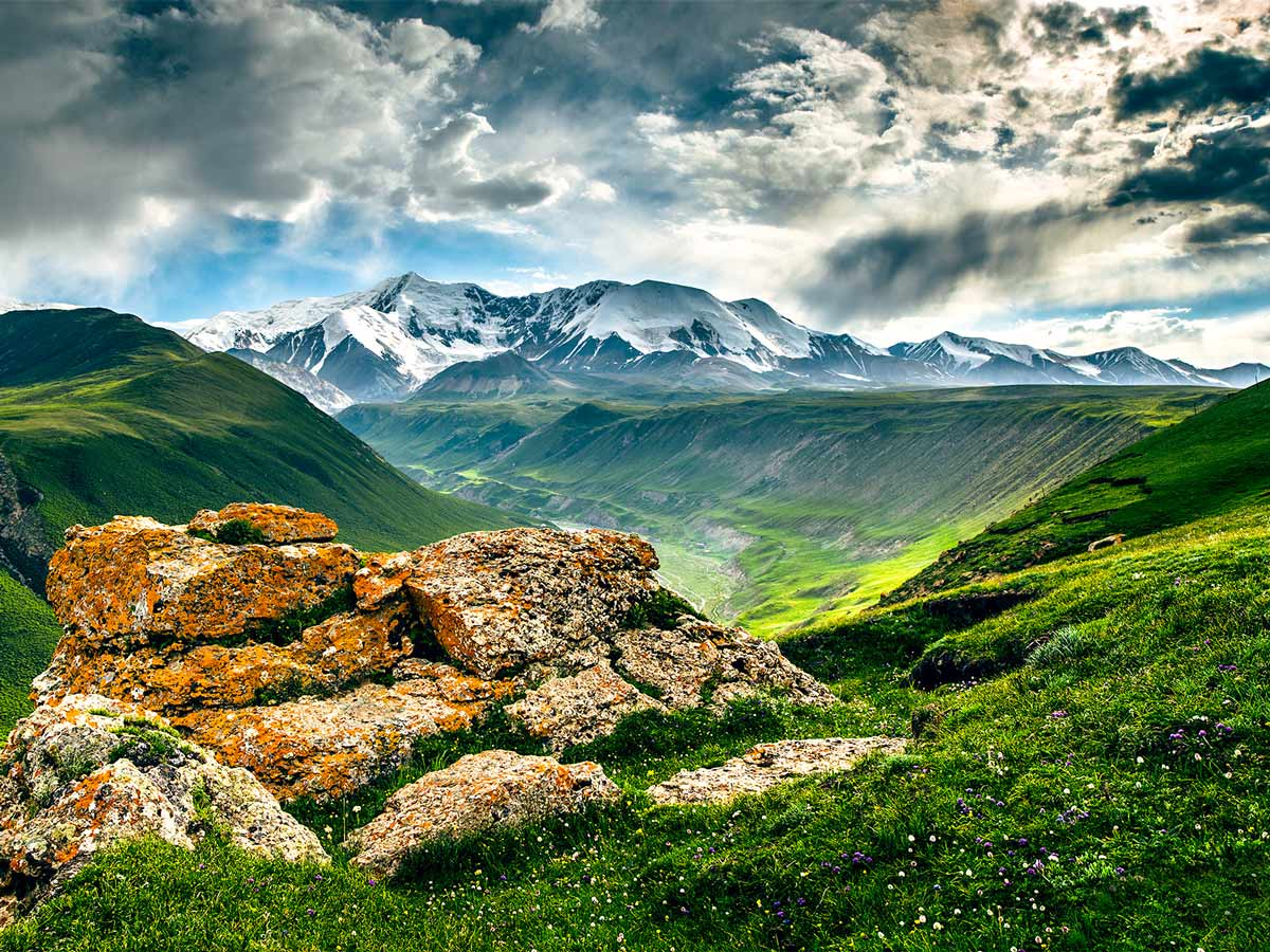 Beautiful mountains viewed from bike trail to Holy Mountain Amnye Machen in Tibet