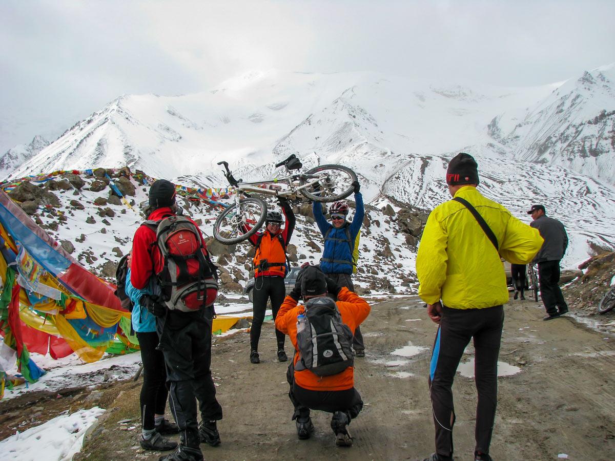 Holy Mountain bikers arive at Amnye Machen basecamp in Tibet