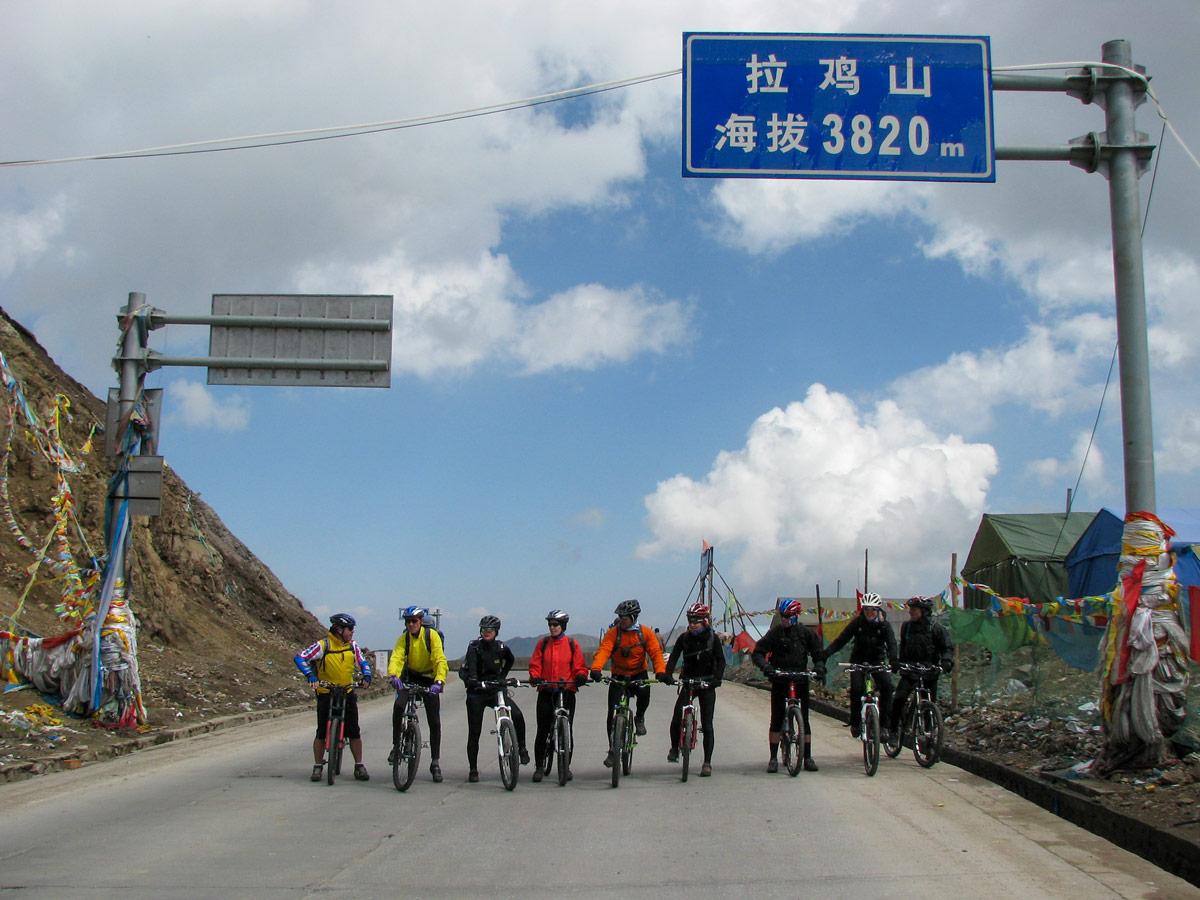 Biikers at Laji Pass biking Amnye Machen in Tibet