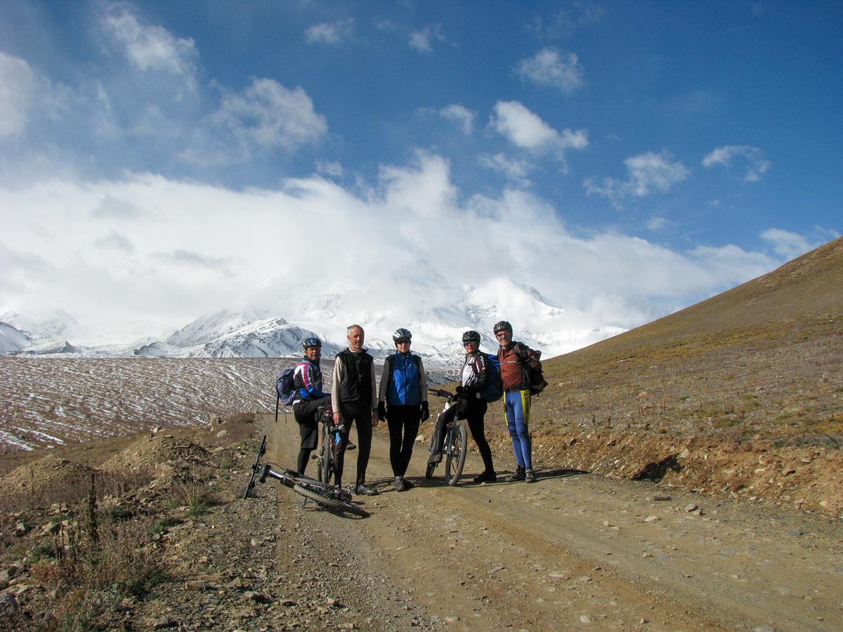 Bikers stop along ride to Amnye Machen Base Camp in Tibet
