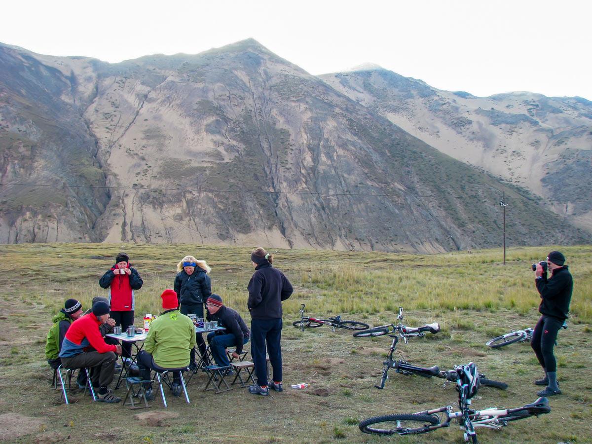 Camping along bike ride trek to Amnye Machen Holy Mountain in Tibet