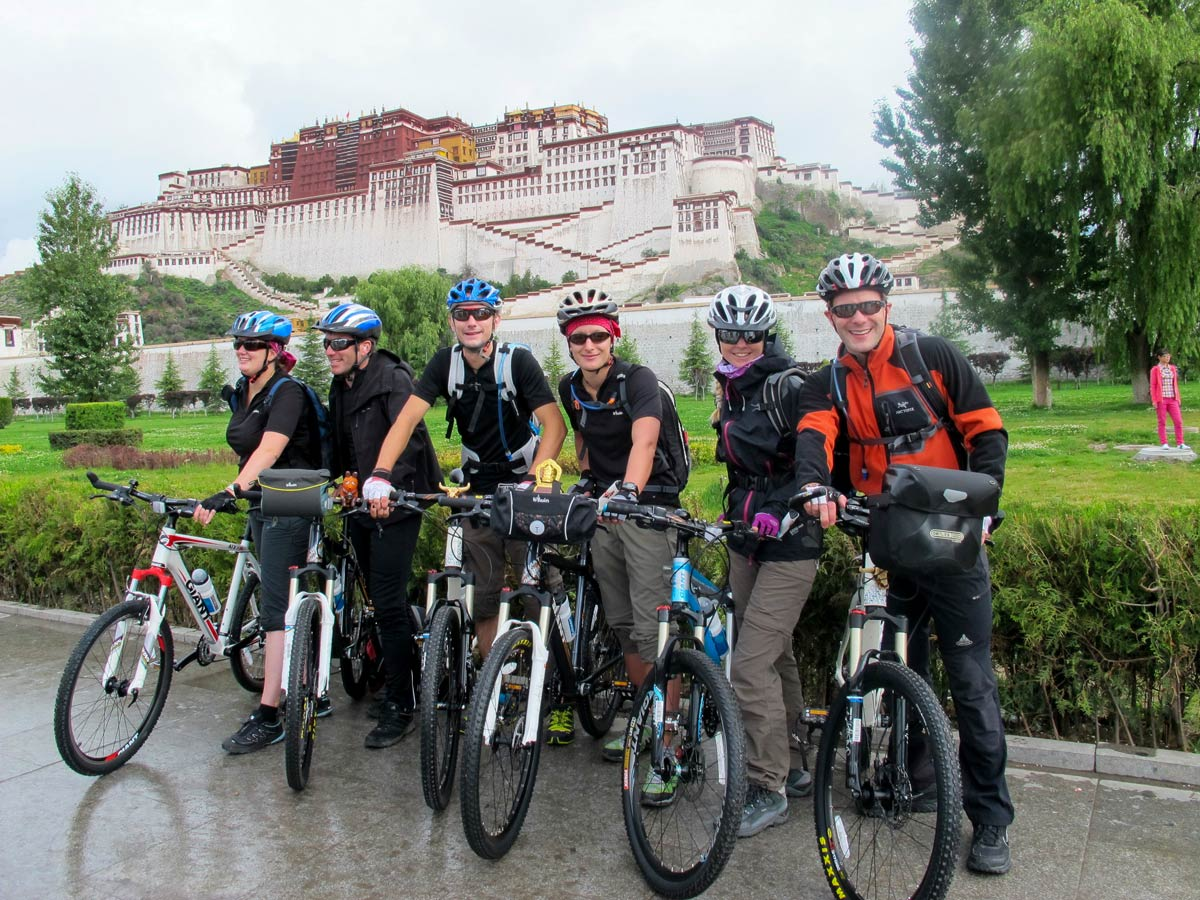 Biking Stop at Potala along bike tour in Central Tibet
