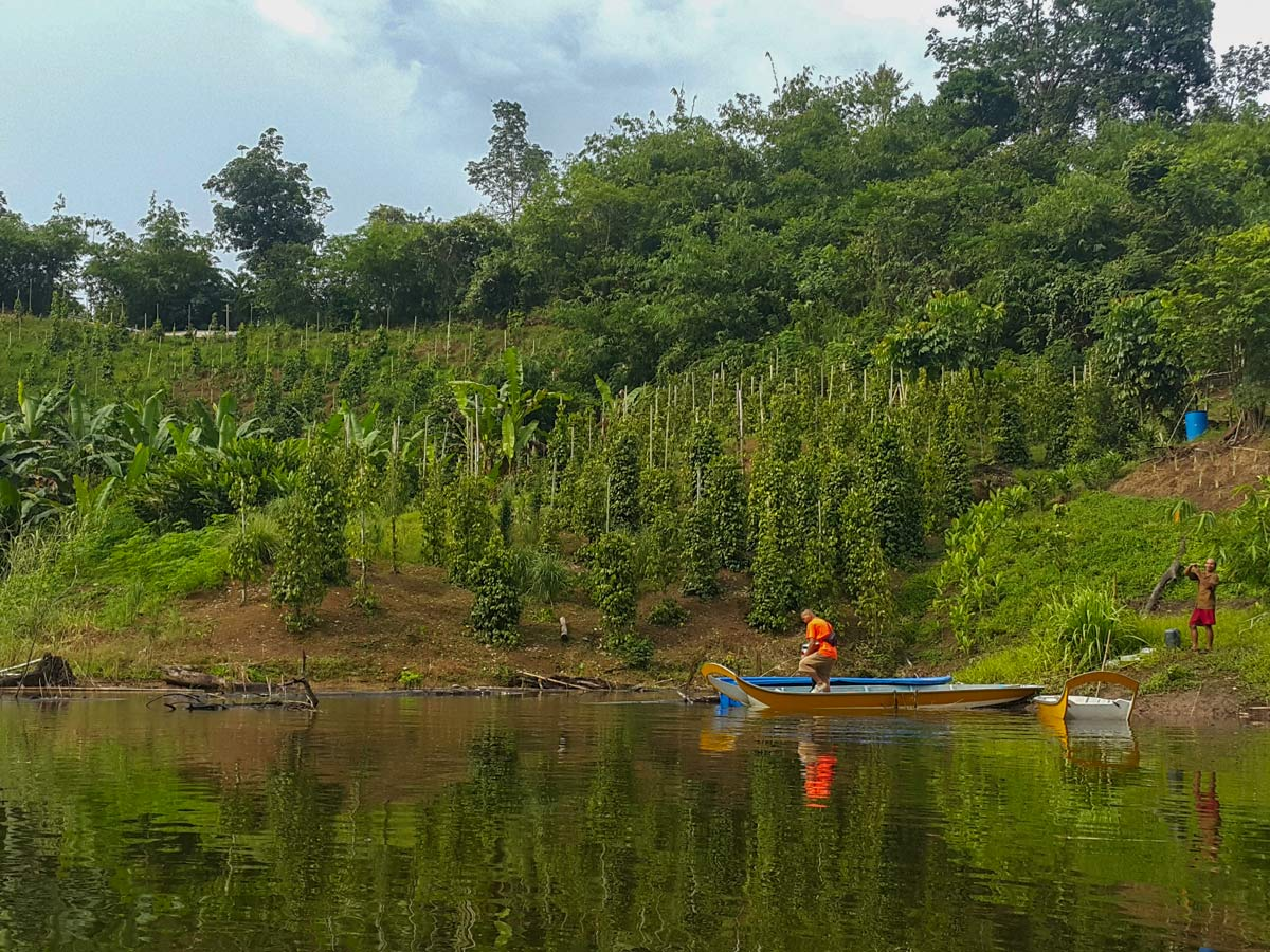 Local farm waterway seen along Sarawak Rainforest Adventure tour in Malaysia