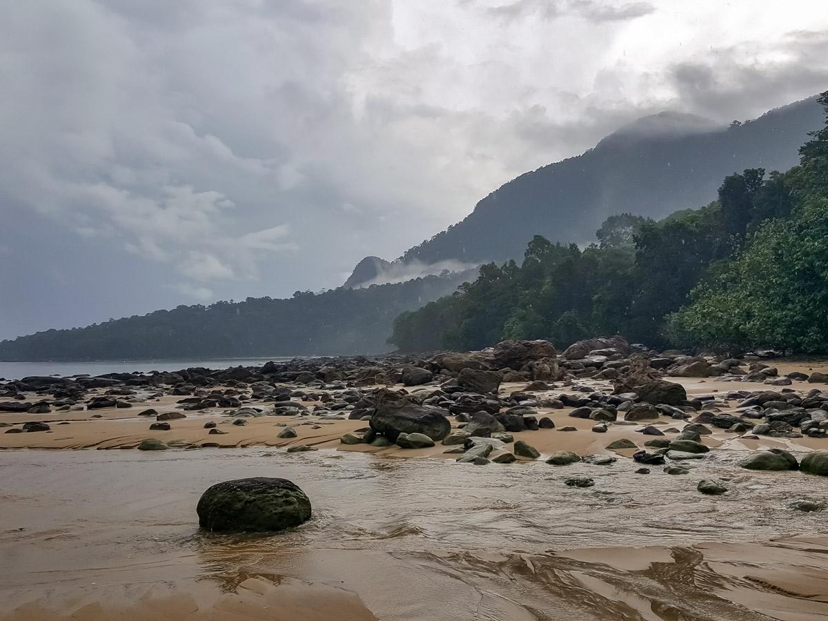 Rainy beach along Sarawak Rainforest Adventure tour in Malaysia