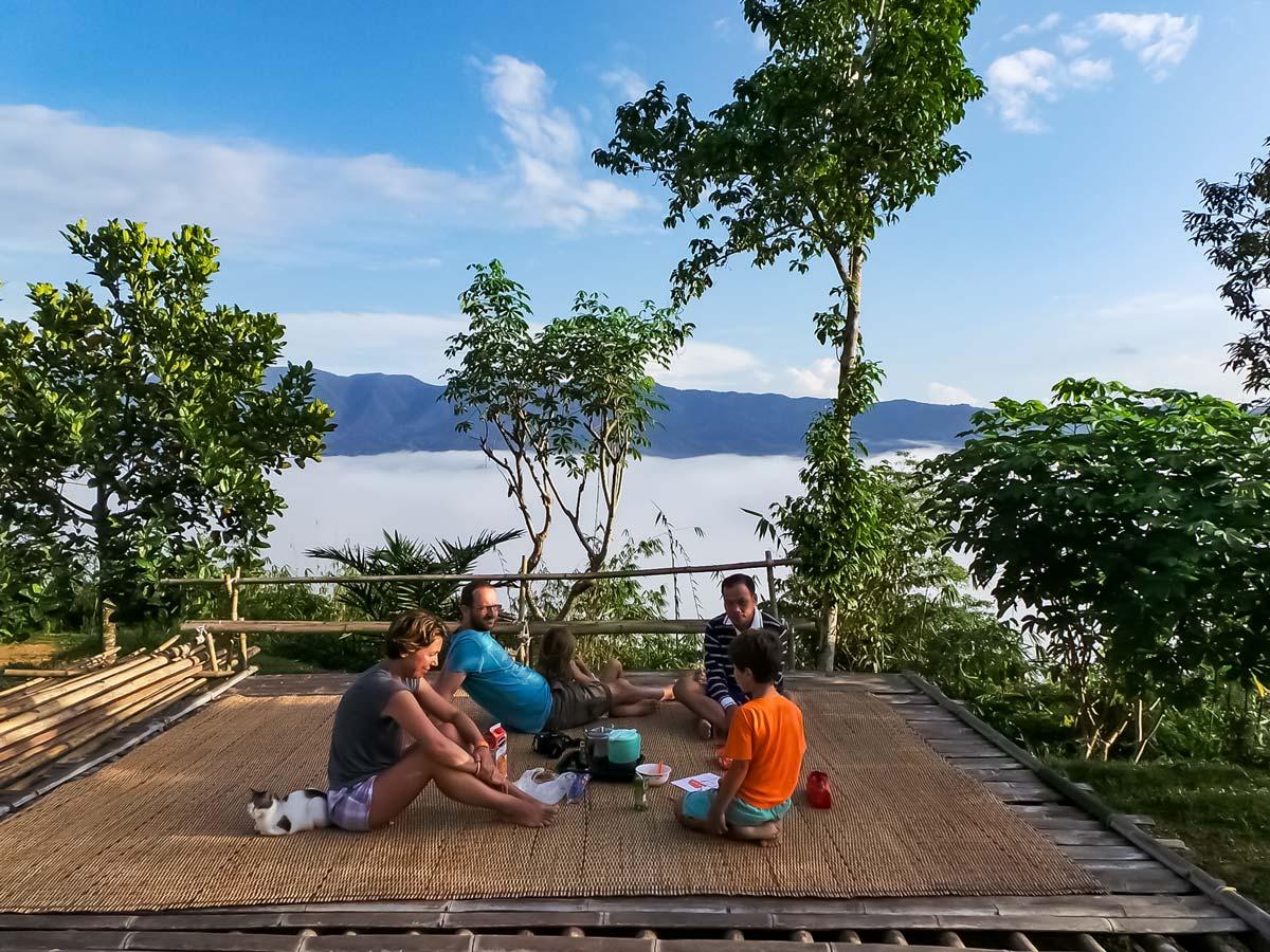 Patio break in the jungle along Sarawak Rainforest Adventure tour in Malaysia