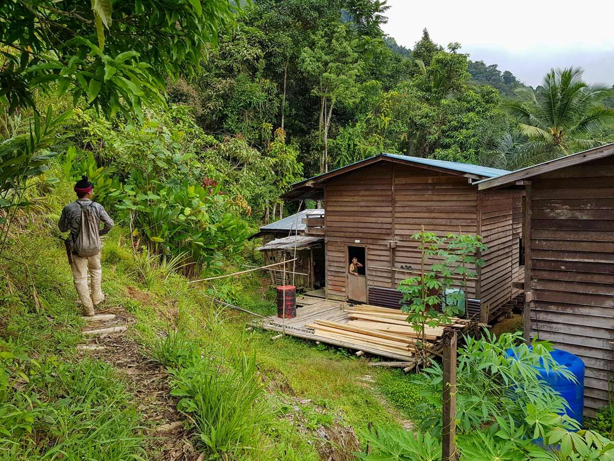 Trekking by rural homes along Sarawak Rainforest Adventure tour in Malaysia