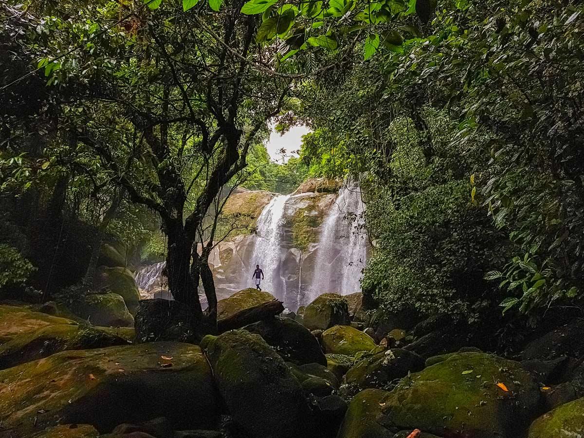 Hiking biking to waterfalls along bike discovery tour Malaysia