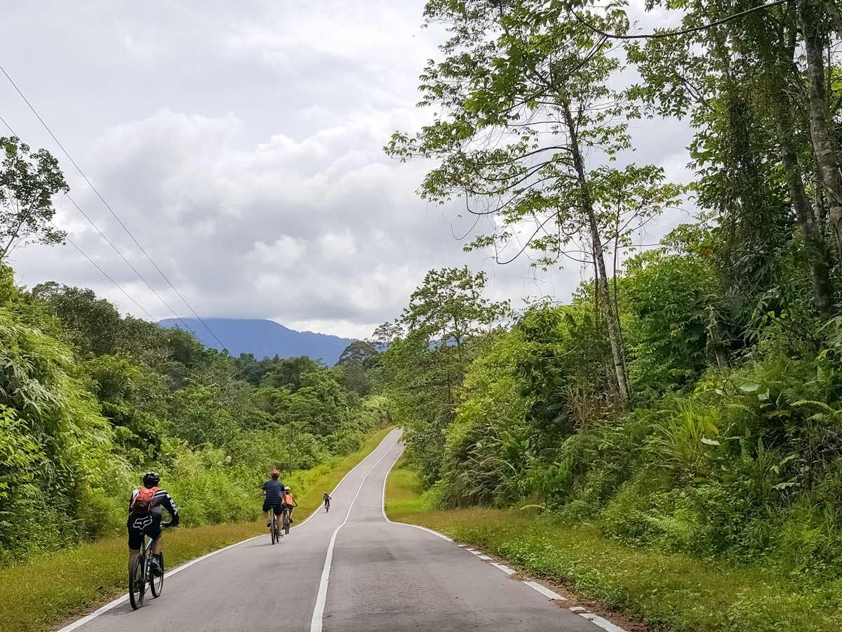 Cyclists bike through Malaysian rainforest along bike ride tour