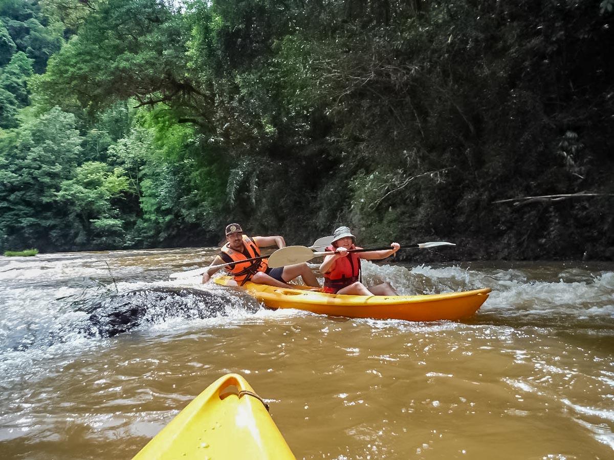 Kayaking in Malaysia on Sarawak Rainforest Adventure tour