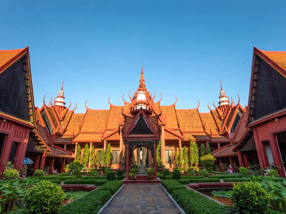 National Museum at Phnom Penhvisited on guided biking tour in Cambodia