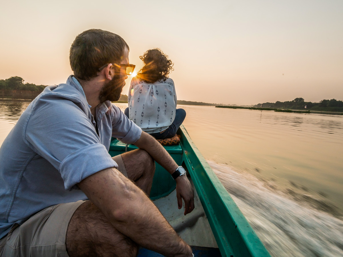 Onboard the boat while on guided biking tour in Cambodia