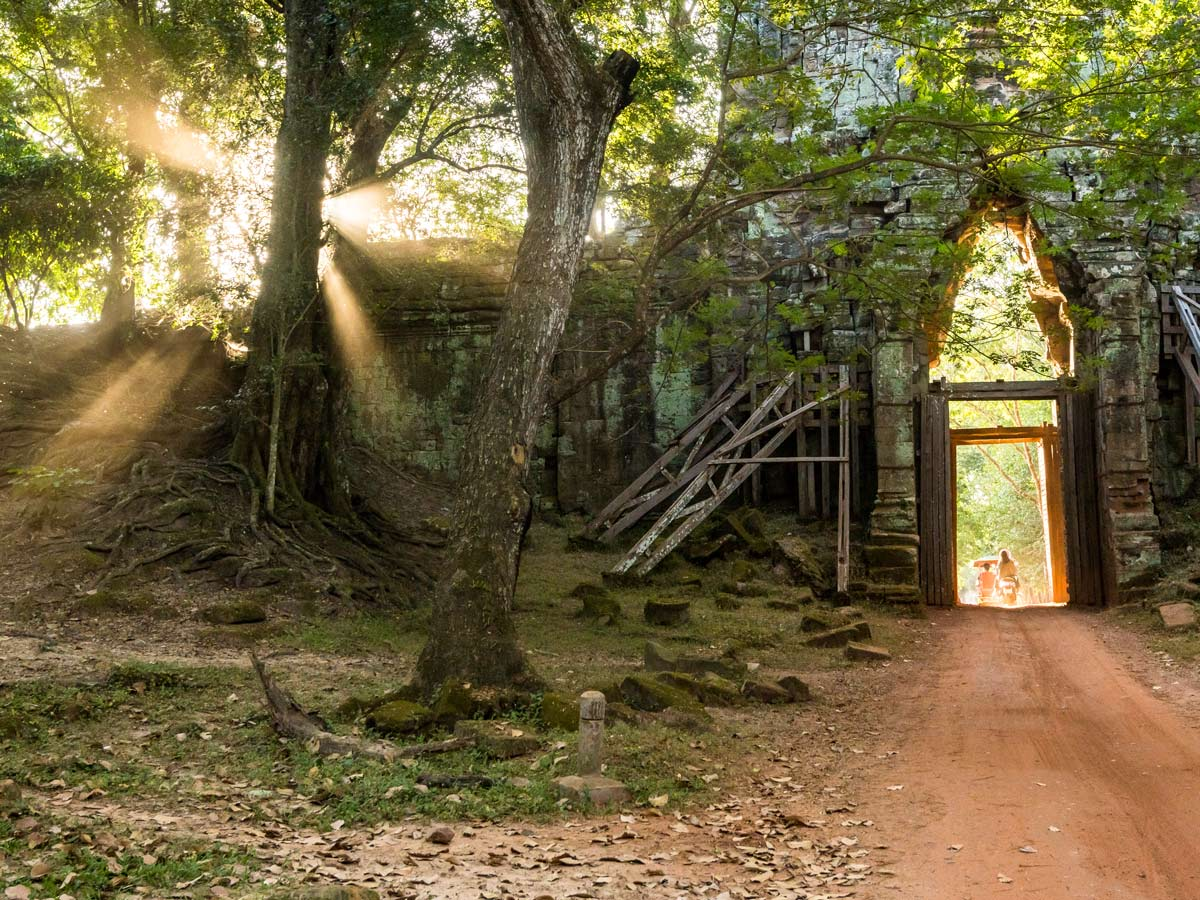 Cozy path that you get to bike while on Cambodia biking tour from Phnom Penh to Angkor Wat