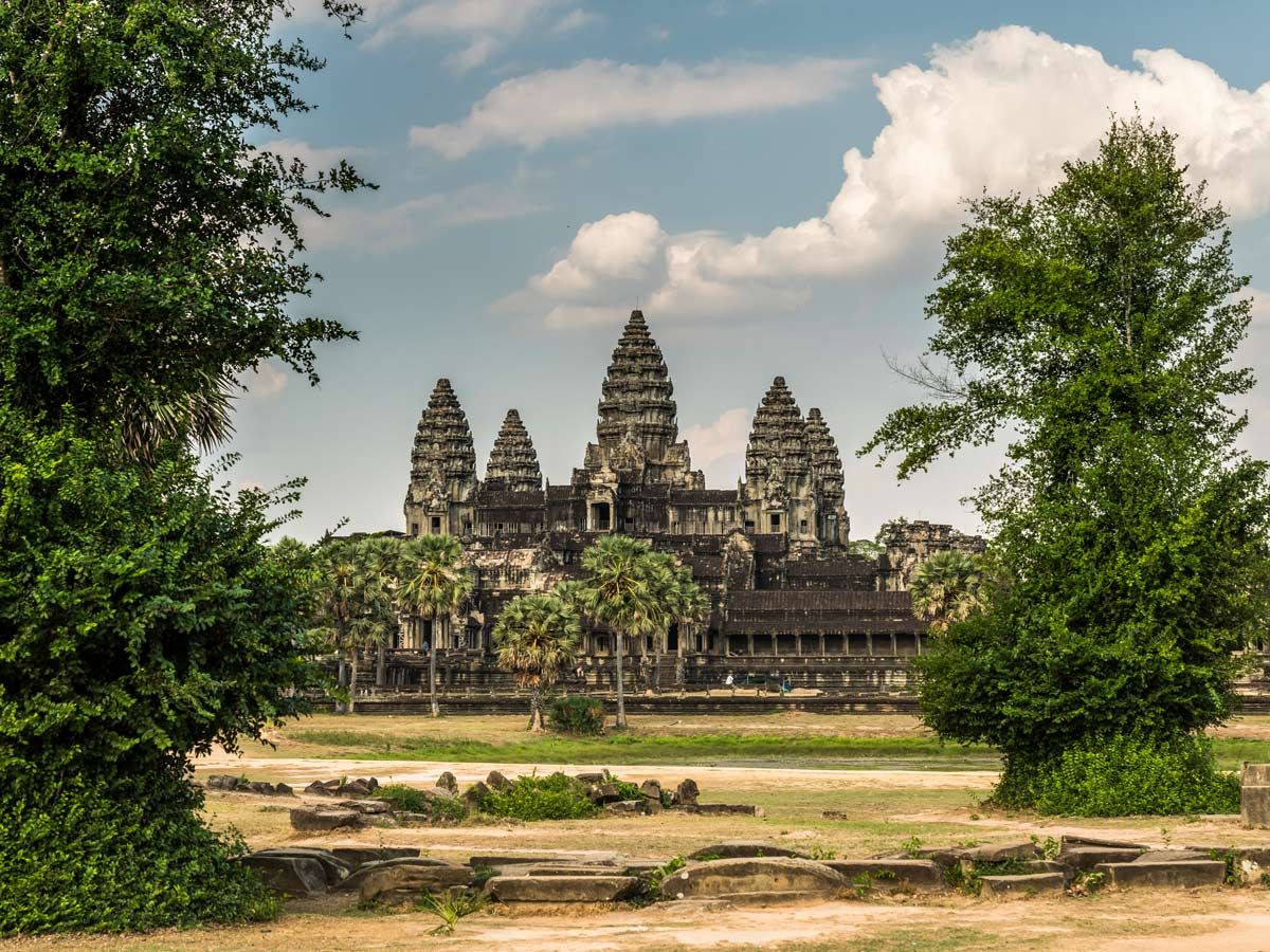 Angkor Wat complex that you get to visit while on guided biking tour