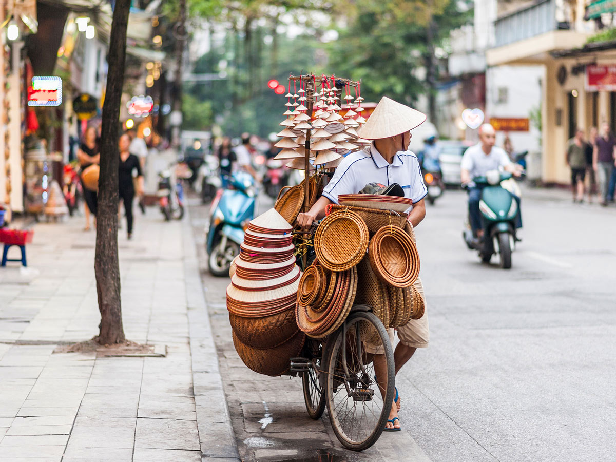 Street vendor with a bicycle on the streets of Hanoi day 1