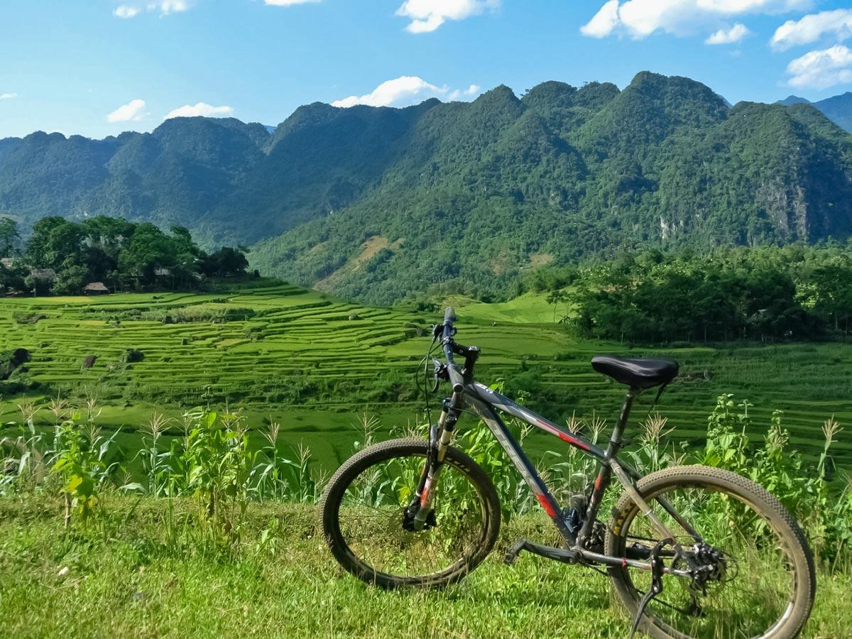 Bike in front of beautiful mountains in Vietnam