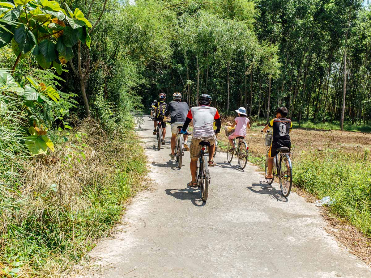 Group of bikers on day 5 of guided biking tour at Central Vietnam