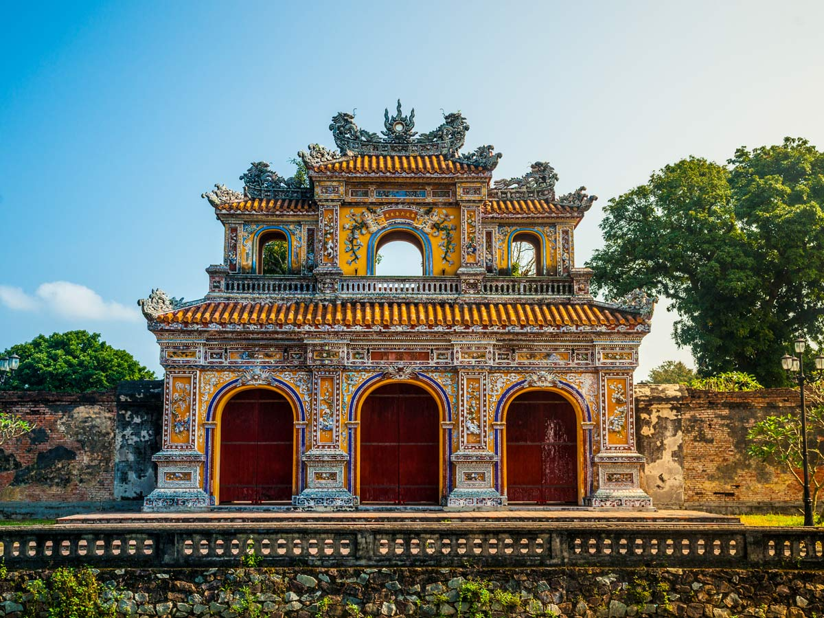 Beautiful Citadel at Hue seen on guided biking tour in Vientnam