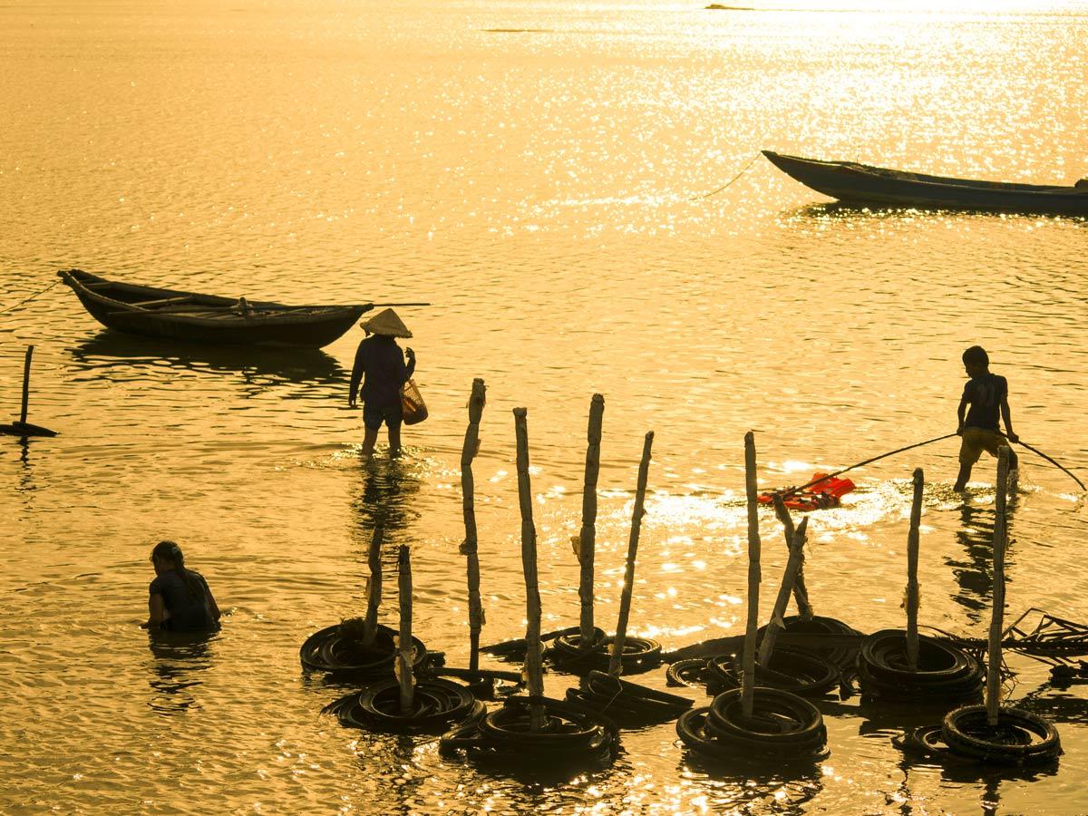 Sunset views at Vietnam seen on guided biking tour at Central Vietnam