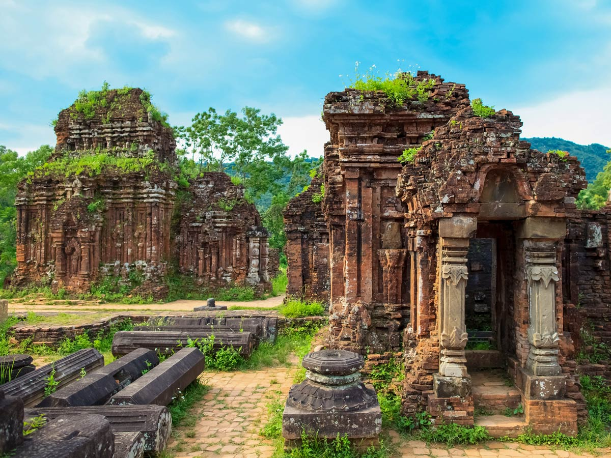 My Son Ruins visited on guided biking tour in Central Vietnam