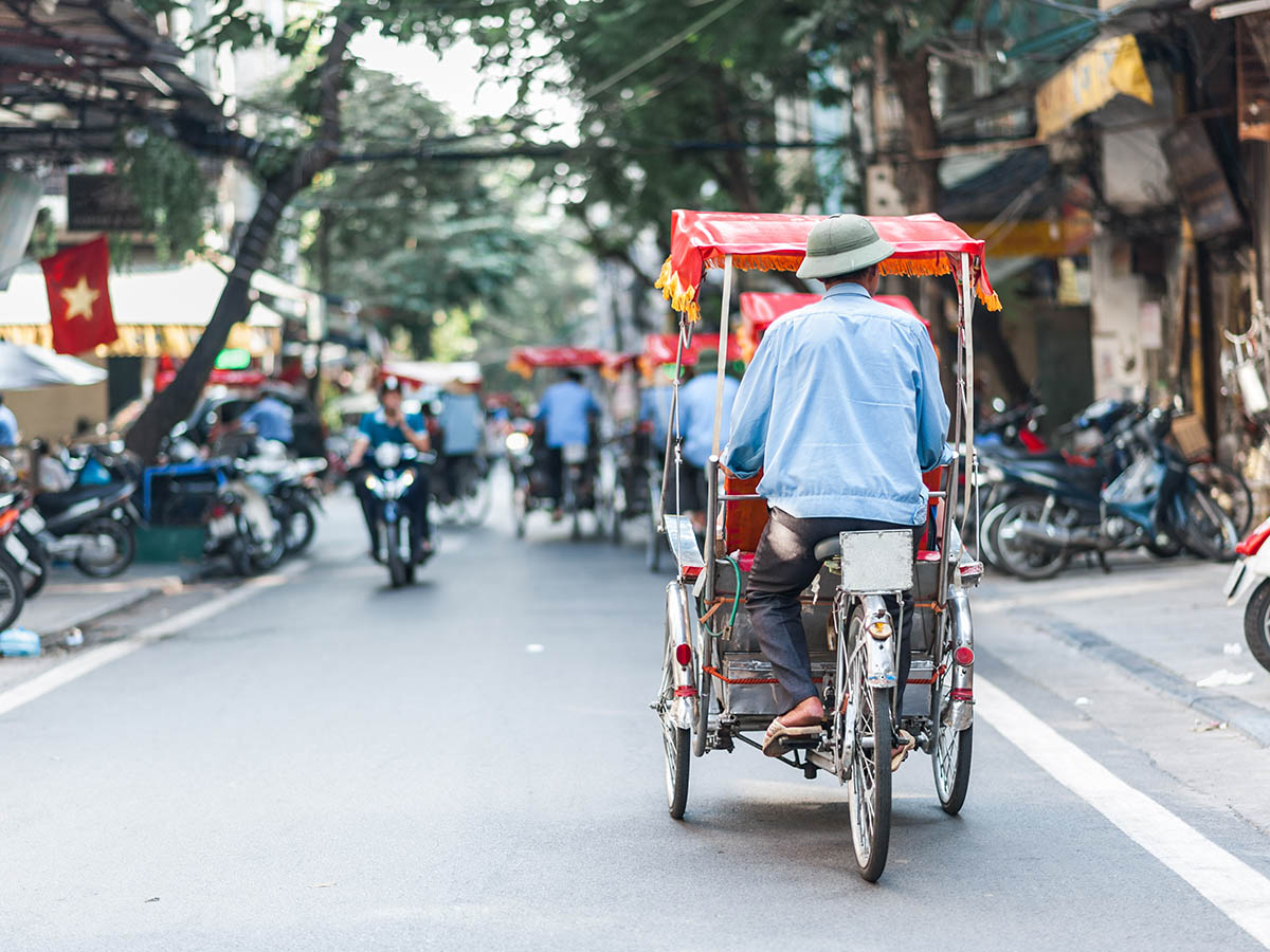 Day 14 - Traditional cyclo ride down the streets of Hanoi, Vietnam