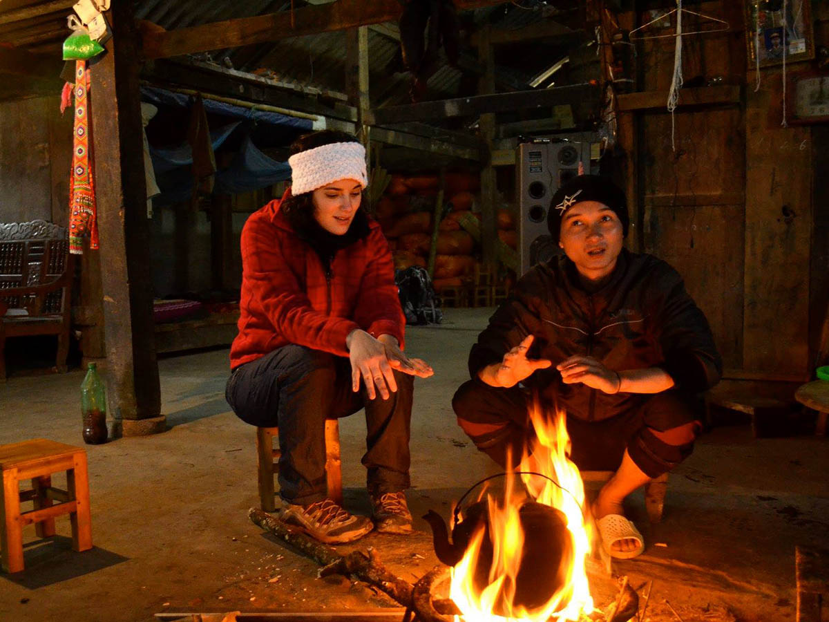 Warming up near the fire in Northern Vietnam