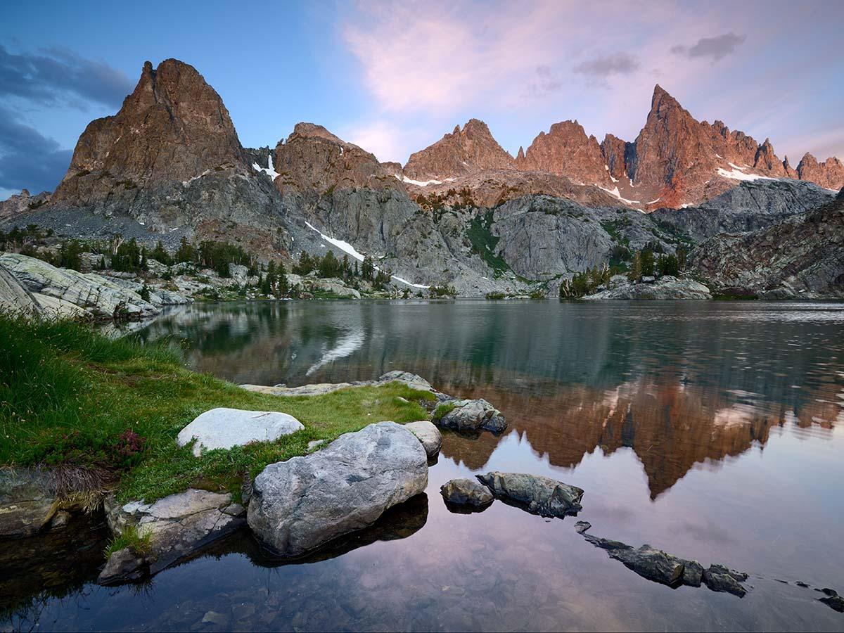 Minarets and the Minaret Lake, Ansel Adams Wilderness, Sierra Nevada, California