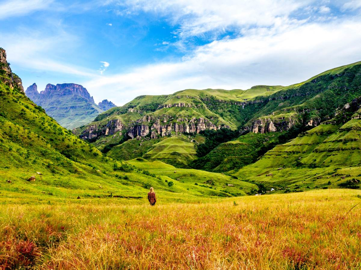Hiking in the yellow valley in Drakensberg, South Africa