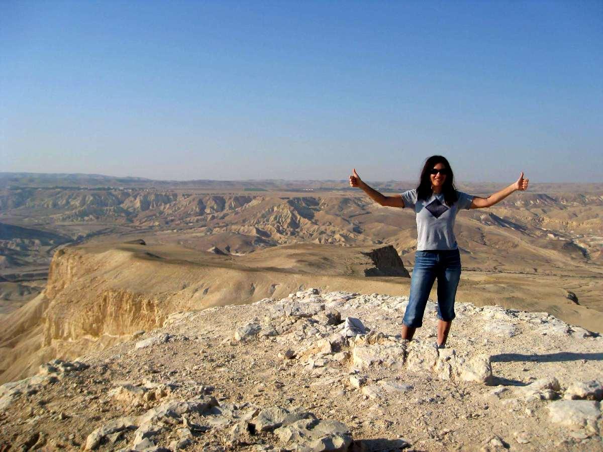 Hiker posing at Hod Akev