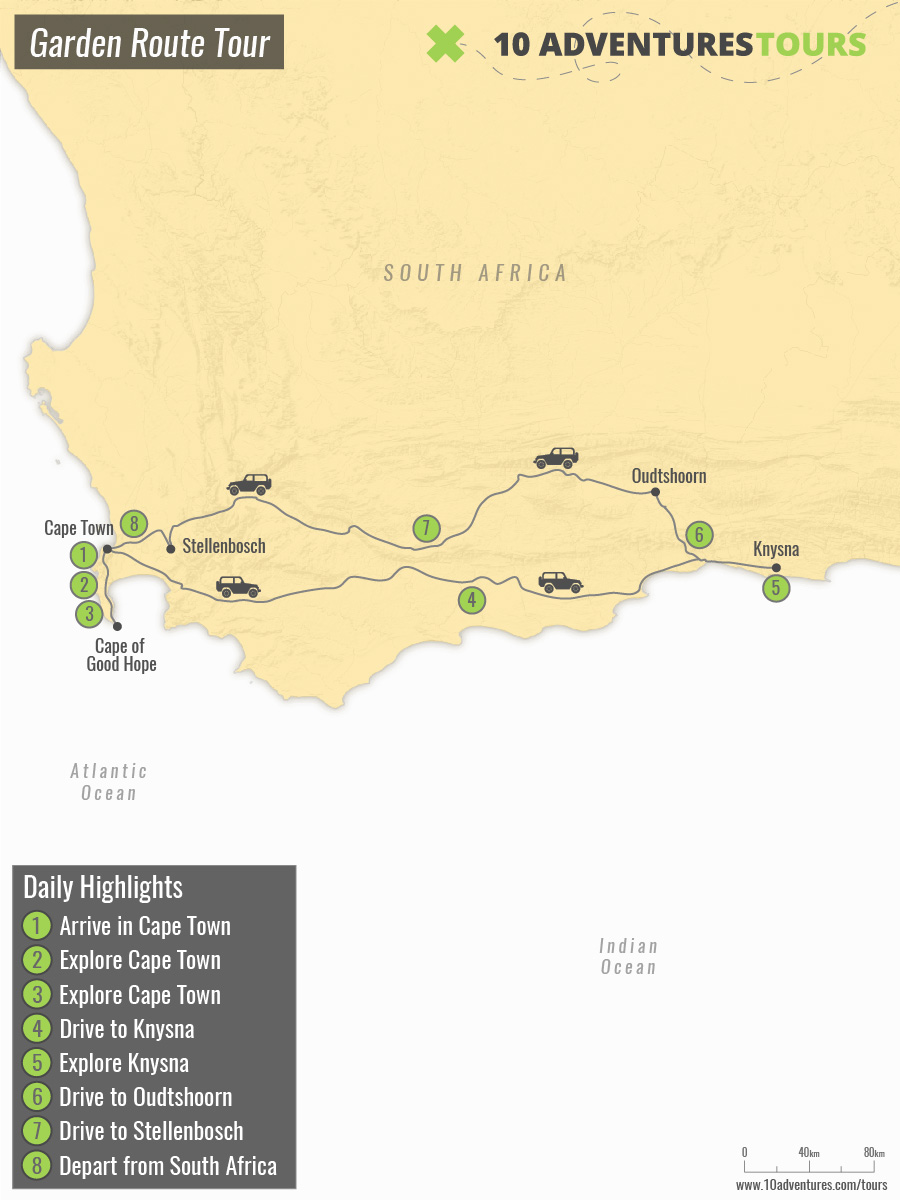 Map of Garden Route Tour in South Africa