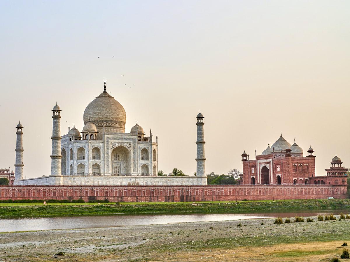 Stunning grand Taj Mahal white marble tomb in Agra India