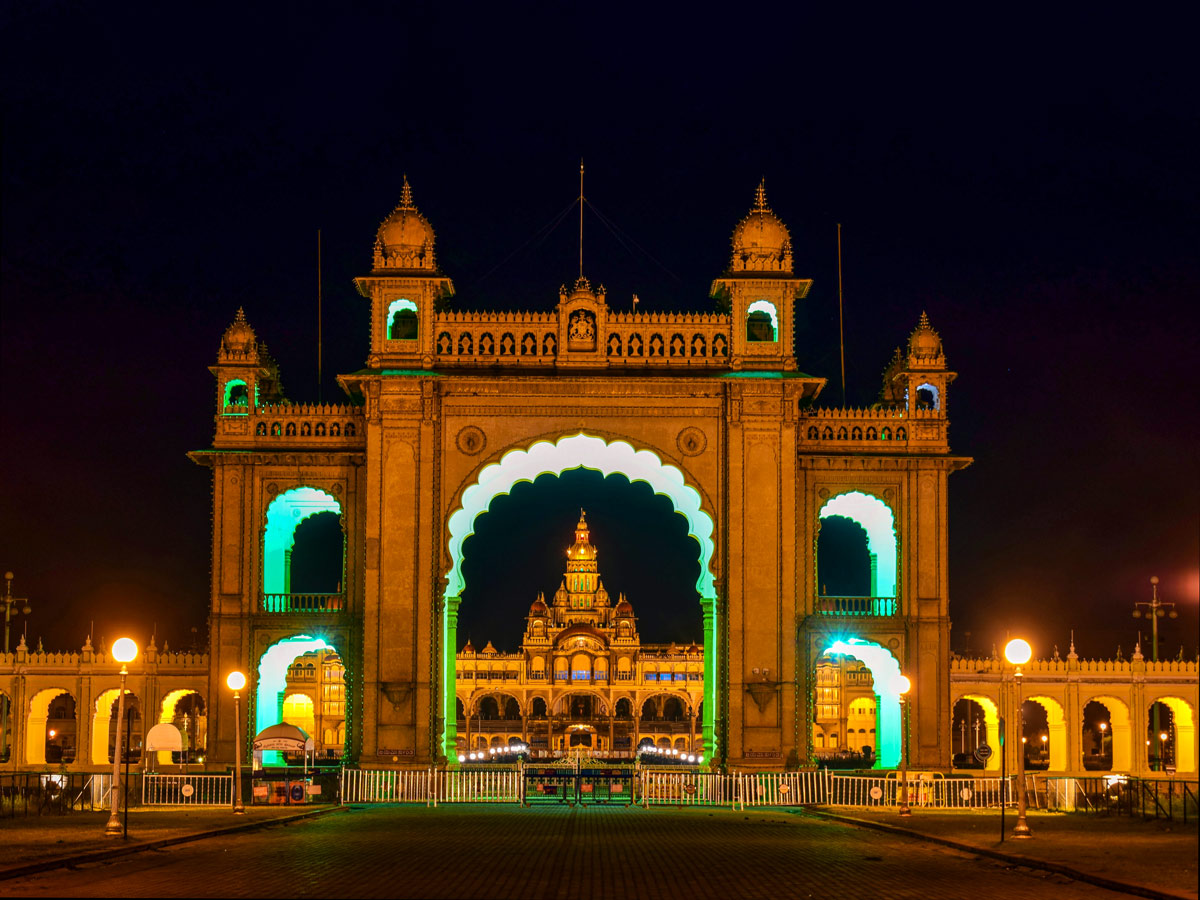 Famous Mysore Palace lit up at night Touring in India