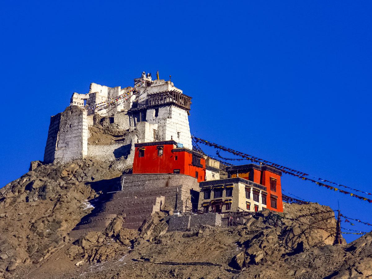 Hilltop buildings village along Chita trek India