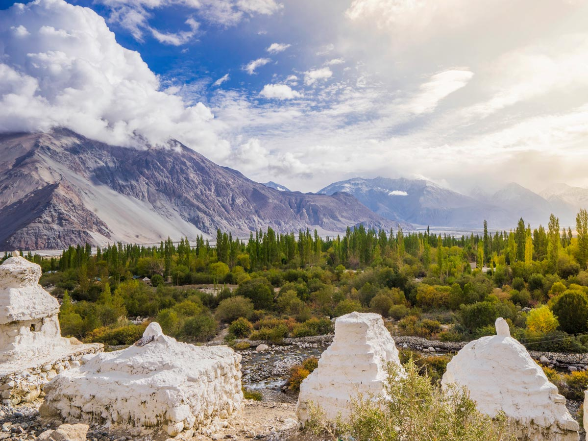 Beautiful sun soaked valley near Ladakh Village hiking in India