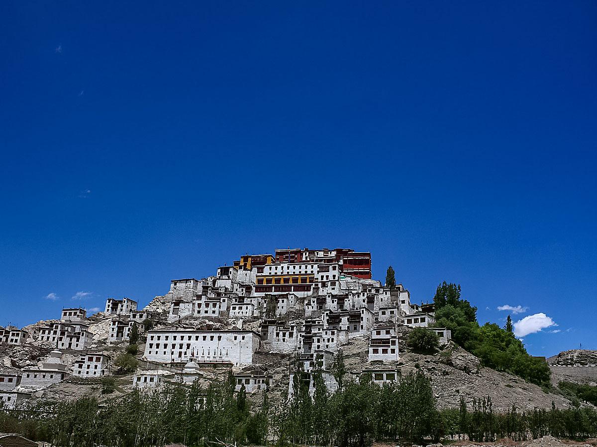 Thikse Monastery seen hiking near Ladakh Village trekking in India